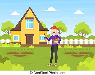Cheerful Senior Woman Working in the Garden, Elderly People Active Lifestyle Vector Illustration