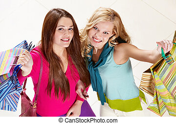 Cheerful shopaholics
