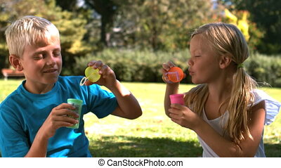 Cheerful siblings having fun together with bubbles in slow...