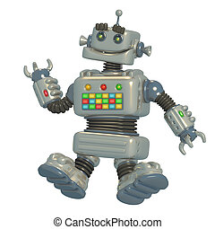 Cheerful silvery robot 3D illustration. - Cheerful silver...