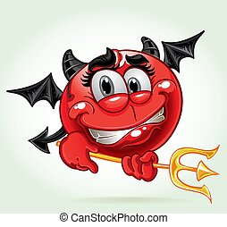 cheerful smile in costume devil with a pitchfork. a series...