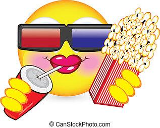Cheerful smiley eating popcorn. Illustration for design on...