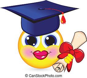 Cheerful smiley graduate. Illustration on white background.