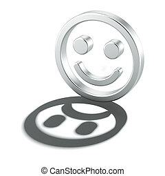 Cheerful smiley with sad shadow isolated on a white...