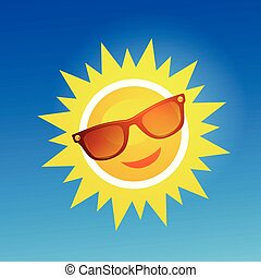 Cheerful, smiling cartoon sun in sunglasses on blue background.