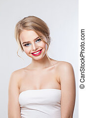 Cheerful smiling girl on white