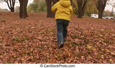 Cheerful smiling three years old boy playing with autumn leaves