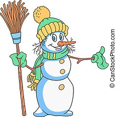 Cheerful Snowman Cartoon