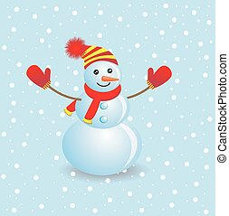 Cheerful snowman on a blue background