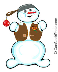 Cheerful snowman on a white backgro