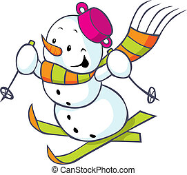 Cheerful snowman on skis isolated on white background