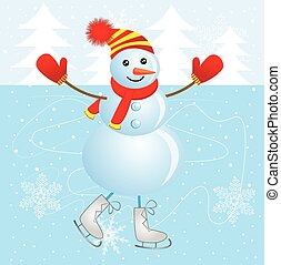 Cheerful snowman skating on ice