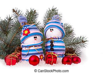 Cheerful snowmen Christmas ornaments isolated