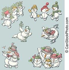 cheerful snowmen