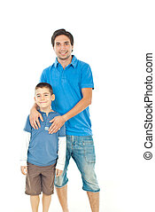 Cheerful son with his father