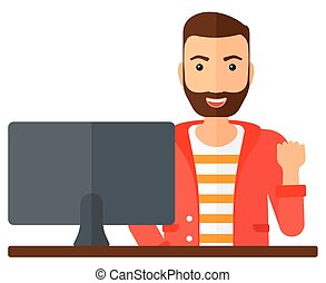 A happy businessman expressing great satisfaction while looking at computer monitor vector flat design illustration isolated on white background.