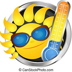 Cheerful sun and thermometer