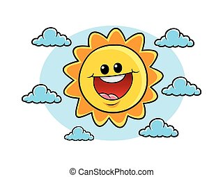cheerful sun character