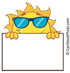 Cheerful Sun Over A Blank Sign