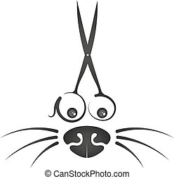 Cheerful symbol for a hairstyle of animals