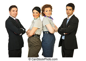 Cheerful team of business people