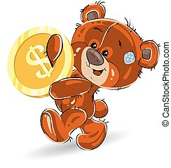 Cheerful teddy bear, in hands carries a gold dollar, a cartoon on a white background.