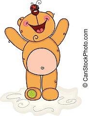 Cheerful teddy bear with ladybug