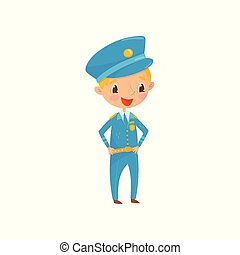 Cheerful teen boy dressed as policeman. Kid wants to be ...