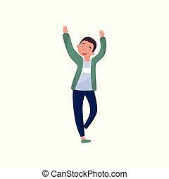 Cheerful teenager boy dancing with hands up. Cartoon kid...