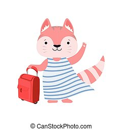 Cheerful tourist cat with suitcase, cute animal cartoon character travelling on summer vacation vector Illustration on a white background