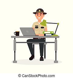 Cheerful town male sheriff police officer character in official uniform working with laptop in his office vector Illustration on a white background