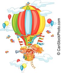 Cheerful travel to a hot air balloon - Cartoon kids riding...