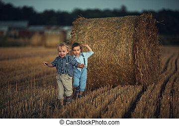 Cheerful twin brothers running on the farmland