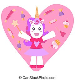 Cheerful unicorn on a pink background with sweets.