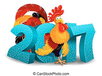 Rooster and 2017 figures - Cheerful vector illustration of ...