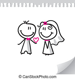 cheerful wedding couple on realistic paper sheet