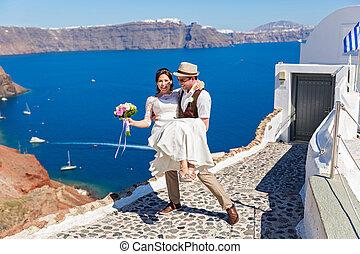 Cheerful wedding couple