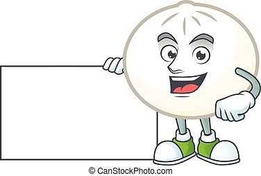 Cheerful white hoppang cartoon character having a board