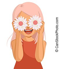 Cheerful Woman Flower Cover Eyes