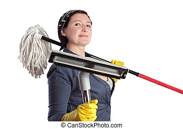 Cheerful woman housewife with vacuum cleaner and cleaning...
