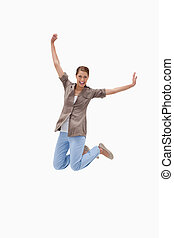 Cheerful woman jumping