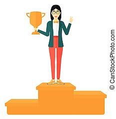 Cheerful woman on pedestal.