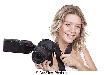 woman shooting with a camera