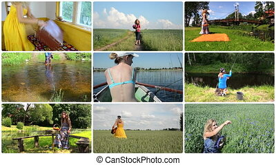 Cheerful woman spend holiday in nature. Active leisure. Collage