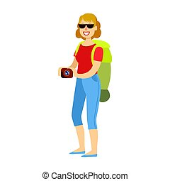 Cheerful woman standing with traveling backpack and holding camera in her hands. Colorful cartoon character