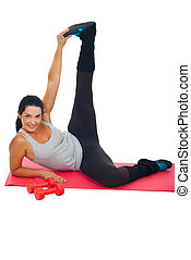 Cheerful woman stretching