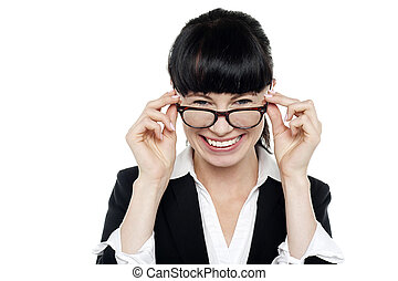 Cheerful woman taking off her spectacles