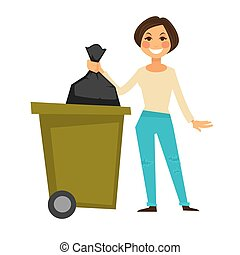 Cheerful woman throws away garbage bag in special bucket -...