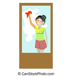 Cheerful woman wiping window - Vector illustration of...