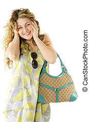 Cheerful woman with bag